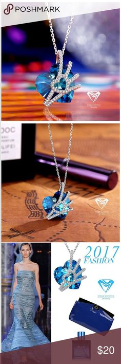 Seashell Pendant With Swarovski Crystals MEGA CREATIVE JEWELRY Sterling Silver Venus Heart Pendant Necklace with Swarovski Crystals, Ideal Gifts for Women Jewelry Necklaces