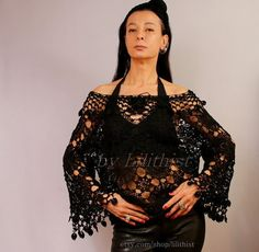 Black Sweater Lace Tunic Top Crochet Top Crochet Lace by lilithist