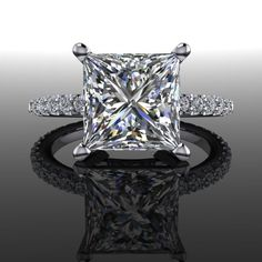Engagement Ring Forever Brilliant Moissanite Square Brilliant and Diamonds 3.23 CTW by BelViaggioDesigns on Etsy https://www.etsy.com/listing/228613263/engagement-ring-forever-brilliant
