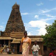 Thanjavur - Tamil Nadu - South India.  Brihadishwara Temple (10th century). Tamil Nadu's most awesome Chola monument. The entrance gopuram were buit with famous Sandstone. Dedicated to Shiva.