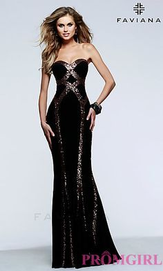 Long Strapless Sequin Embellishing Dress by Faviana at PromGirl.com