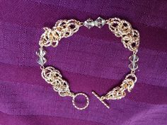 Gold Byzantine chain maille with citrine Swarovski crystals.