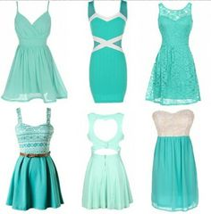 Spring dresses.I like the lace one and the one with design/belt! I adore this blue-teal color sososo much!