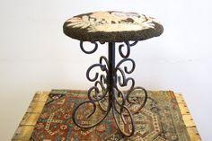 Wrought Iron base hooked rug stool