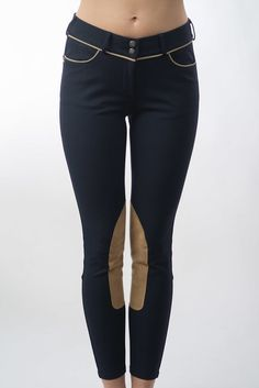 Lo Ride CLASSIC NAVY BLUE BREECH WITH TAN PIPING AND KNEE PATCH