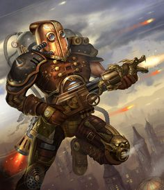 High-flying steampunk warrior, reminiscent of the Rocketeer. Illustration by Folko Streese, http://folko-s.deviantart.com/art/Folko-Streese-Oo-Steampunk-Warrior-508995215