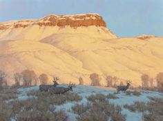 Western:Contemporary, SCOTT YEAGER (American, b. 1965). Mule Deer on Winter Range.Oil on canvas. 30 x 40 inches (76.2 x 101.6 cm). Signed low... Image #1