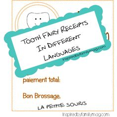 Tooth Fairy Receipts in different languages and traditionals from Inspired by Family Mag.com