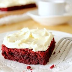 Moist, fudgy Red Velvet Brownies with White Chocolate Frosting