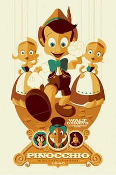 Pinocchio - silkscreen movie poster (click image for more detail) Artist: Tom Whalen Venue: N/A Location: N/A Date: 2011 Edition: numbered Size: x Condition: Mint Notes: this silkscreen poster is on medium weight off-white colored speckletone paper. Disney Magic, Disney Pixar, Draw Disney, Disney Amor, Film Disney, Disney And Dreamworks, Disney Vintage, Retro Disney, Vintage Disney Posters