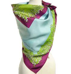 Christian Dior Silk Scarf with Lily of the Valley/Muguet floral motif