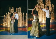I love the fountain. This couple draws me in because they are dancing and they look like they are having fun.