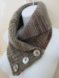 Shawl collared cowl knitting pattern. Love shawl collars and the buttons make it easy to put on and take off. Cowl Knitting patterns with many free knitting patterns for cowls at http://intheloopknitting.com/cowl-knitting-patterns/
