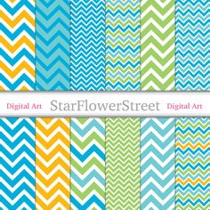 chevron digital paper scrapbook zig zag background blue and green lime green blue green yellow digital paper boy digital paper StarFlowerStreetDA on Etsy: (3.75 USD)