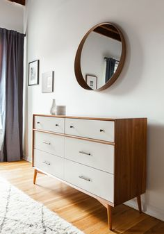 Westelm dresser, Stockholm mirror. Styled with H&M Home accessories.