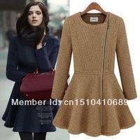 Aromatic 2013 autumn and winter ladies women's one-piece dress elegant oblique zipper o-neck slim wool coat outerwear