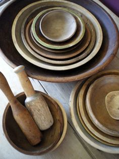 antique and vintage wooden dough and butter bowls