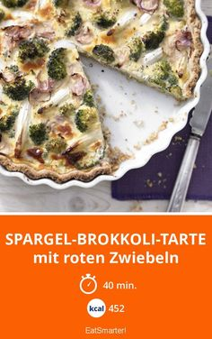 Spargel-Brokkoli-Tarte - mit roten Zwiebeln - smarter - Kalorien: 452 Kcal - Zeit: 40 Min. | eatsmarter.de