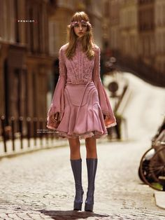 Alexandra Tikerpuu wears dresse Pose for South China Morning Post Style Magazine December 2015 issue Photoshoot