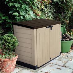 Tall Store-It-Out Max Resin Patio Outdoor Garden Storage Shed - Outdoor Storage - Ideas of Outdoor Storage Plastic Storage Sheds, Garbage Storage, Wood Storage Sheds, Garden Storage Shed, Outdoor Storage Sheds, Storage Shed Plans, Storage Ideas, Plastic Sheds, Patio Storage