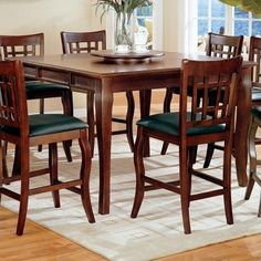Cherry Counter Height Dining Table w/Lazy Susan & Chair Set You will receive a total of 1 table and 8 chairs Counter Height Table: Kitchen Dining Sets, Dining Room Bar, Counter Height Dining Table, Dining Area, Wood Counter, Formal Dining Tables, Pub Tables, Dining Room Furniture, Coaster Furniture