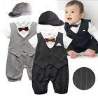 Baby Boy Wedding Formal Tuxedo Suit Striped Romper Outfit+HAT Set 0-18M NEWBORN
