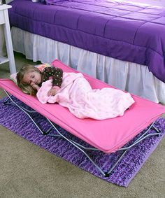 This clever cot makes a brilliant extra bed for sleepover parties, trips to Grandma's house, a day at the beach or daycare. The durable, folding steel frame comes with a convenient carrying case, making it an ideal option for camping and car trips. An included fitted sheet means this super sleeper is ready for use right out of the box! See how it works