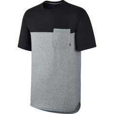 Nike SB Herren T-Shirt Dri-FIT Blocked Pocket - DK GREY HEATHER/BLAC  1
