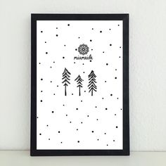 Illustrationen - Tannen Winter Schnee Kunstdruck Bild Illustration - ein Designerstück von miameideblog bei DaWanda