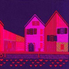 VANHAKAUPUNKI-dark-purple-houses-Marimekko-paper-lunch-napkins-new-20-in-pack