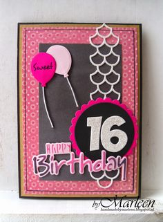 Birthday for sweet 16, CR1320 Happy Birthday text by Marleen