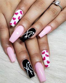 50 Trendy Acrylic Nail Designs for Valentine's Day – nageldesign. Heart Nail Designs, Valentine's Day Nail Designs, Acrylic Nail Designs, Nails Design, Cute Acrylic Nails, Cute Nails, Pretty Nails, Nails Kylie Jenner, Valentine Nail Art