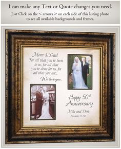 Then and Now 50th Parents Golden Anniversary Gifts, Personalized Anniversary Photo Picture Frames by#50th #anniversary #frames #gifts #golden #parents #personalized #photo #picture Handmade Anniversary Gifts, 50 Wedding Anniversary Gifts, Anniversary Pictures, Anniversary Gifts For Parents, 25th Anniversary, Handmade Gifts, Anniversary Frames, Anniversary Ideas, Then And Now Pictures