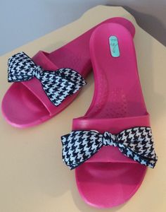 OKABASHI Sandals Flip Flops Pink Black White Houndstooth Bow Size M/L #Okabashi #FlipFlops #DressyorCasual