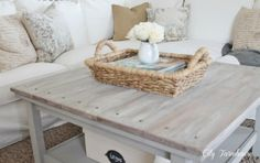 Ikea coffee table hack / beachy hamptons look