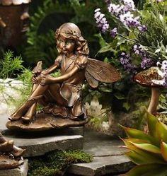 Rose Fairy in birdbath Fairy Garden Statues httpwwwsquidoo