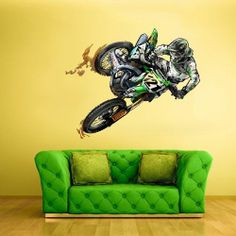 Full Color Wall Decal Sticker Dirt bike Moto Motorcycle Motocross Dirty col309