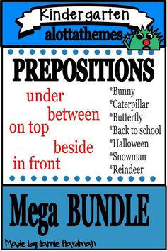 Save *BIG* when purchasing the PREPOSITIONS MEGA Bundle! These activities are great for speech practice, center ideas and group work. Alphabet Activities, Language Activities, Prepositional Phrases, Prepositions, Group Work, Learning Through Play, Center Ideas, Small Groups, Back To School