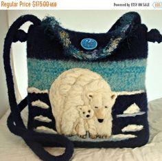 MY BIRTHDAY SALE Felted Wool Purse, felted wool handbag, Polar Bear art, bear art, Hand knit felted purse