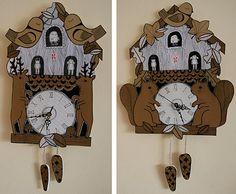 un coucou en carton ! by kate sutton Antique Clocks, Vintage Clocks, Cute Clock, Wooden Clock, Cuckoo Clocks, Elementary Art, Teaching Art, Toddler Activities, Art Lessons