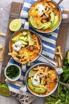 Creamy Chicken Tortilla Soup is one of my favorite fall soup recipes. It's creamy, it's delicious, and it's filled with all of my favorite Tex-Mex ingredients. This easy tortilla soup recipe is perfect for any night of the week, and it's so easy to save and reheat later! Cheesy Chicken Enchiladas, Chicken Enchilada Soup, Chicken Soup, Healthy Chicken Tortilla Soup, Healthy Soup, Slow Cooker, Fall Soup Recipes, Easy Recipes, Healthy Recipes