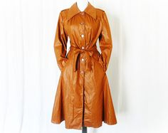 Vintage 70s Rust Belted Pleated Trench Coat M - PopFizzVintage