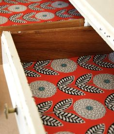 wrapping paper and wall paper scraps as drawer liners