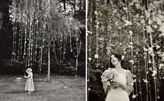 flowers strung from trees | How to Throw a Backyard Wedding: Decor | Green Wedding Shoes Wedding ...