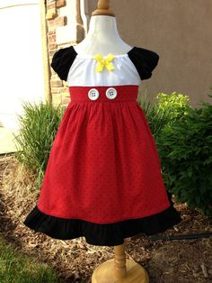 Mickey Mouse Inspired Dress  Great for Disney by Theresafeller, $46.00...Shop has a lot of great Disney clothes.