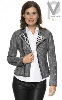 Vera Pelle Blazer Lederjacke Luxus Elegant Extravagant Grau Wendejacke Apropos
