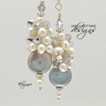 Cultured pearl and crystal earrings by Judith Rudolph, Holly Cottage Designs