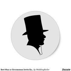 Best Man or Groomsman Invite Envelope Seals Classic Round Sticker