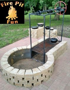 ideas backyard fire pit bbq projects for 2019 Fire Pit Grill, Diy Fire Pit, Fire Pit Backyard, Backyard Patio, Backyard Landscaping, Bbq Grill, Fire Pit For Cooking, Grilling, Sloped Backyard