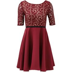 Rental Slate & Willow Burgundy Percy Dress ($60) ❤ liked on Polyvore featuring dresses, red, red sleeve dress, lacy dress, red full skirt dress, full lace skirt and lace dress